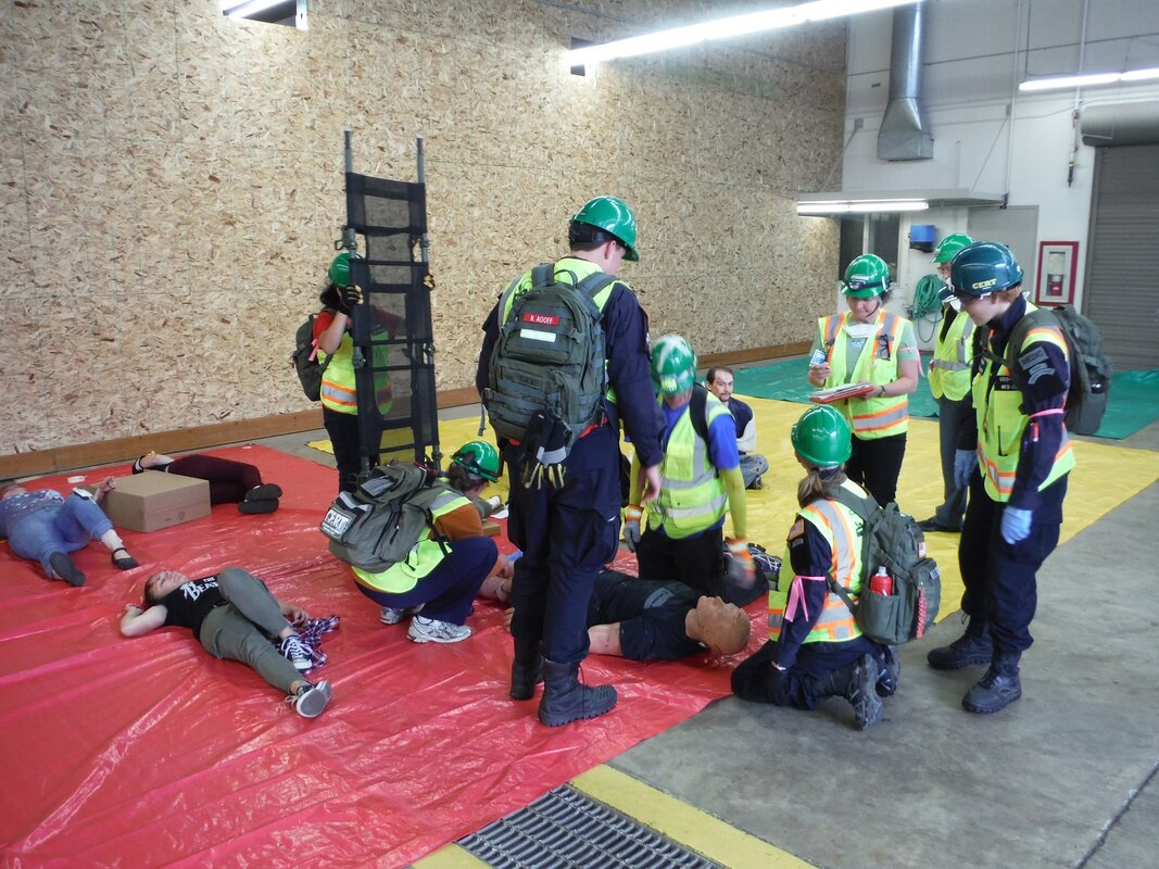 Central Aid Agency Rapid Response and CERT personnel participate in a training exercise.