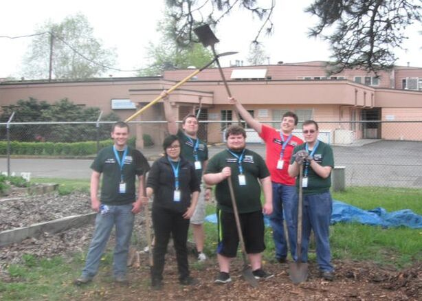 Community Service Volunteers after completing a work project at the Eugene Mission.